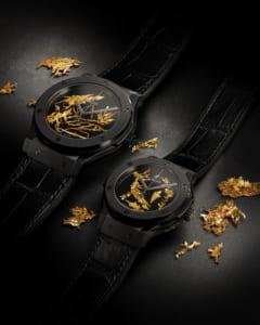 Cận cảnh chất liệu đặc biệt của đồng hồ Hublot Classic Fusion Gold Crystal